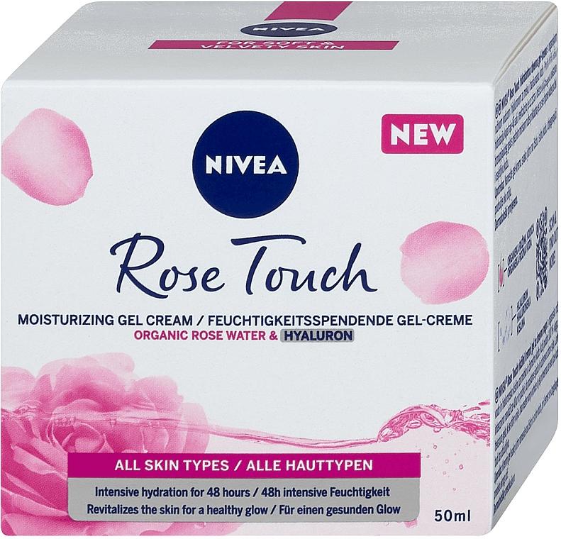 Crema facial en gel hidratante con agua de rosas orgánica y ácido hialurónico - Nivea Rose Touch
