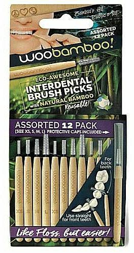 Cepillos intradentales de bambú, 12uds. (mini) - Woobamboo Toothbrush Interdental Brush Picks Assorted
