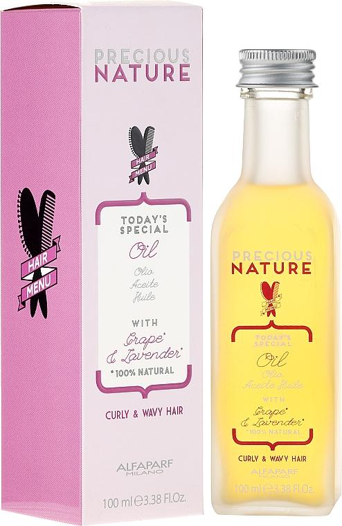 Aceite ligero para cabello de uva y lavanda 100% natural - Alfaparf Precious Nature Oil Curly & Wavy Hair Grape & Lavender