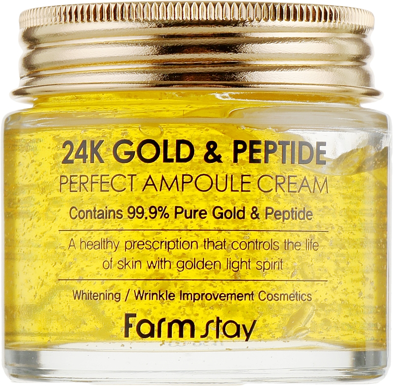 Crema facial hidratante con oro puro 24K y péptidos - FarmStay 24K Gold & Peptide Perfect Ampoule Cream
