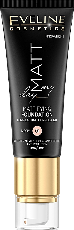 Base de maquillaje hidratante efecto mate con extracto de granada & algas, SPF 10 - Eveline Cosmetics Matt My Day Mattifying Foundation