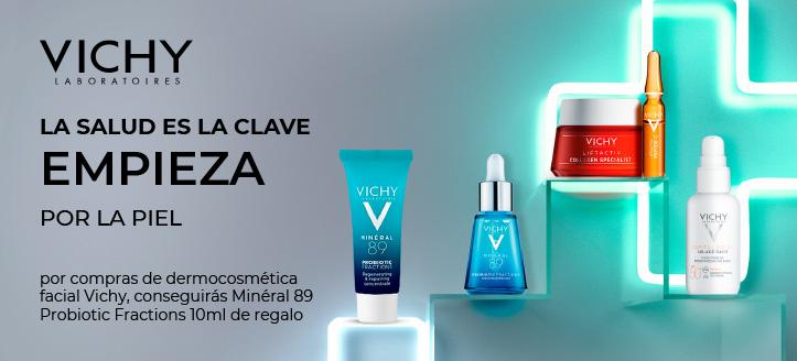 Por compras de dermocosmética facial Vichy, conseguirás Minéral 89 Probiotic Fractions 10 ml de regalo