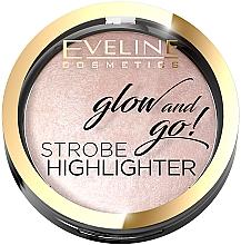 Perfumería y cosmética Iluminador compacto en polvo con alta concentración de perlas iridiscentes - Eveline Cosmetics Glow And Go Strobe Highlighter
