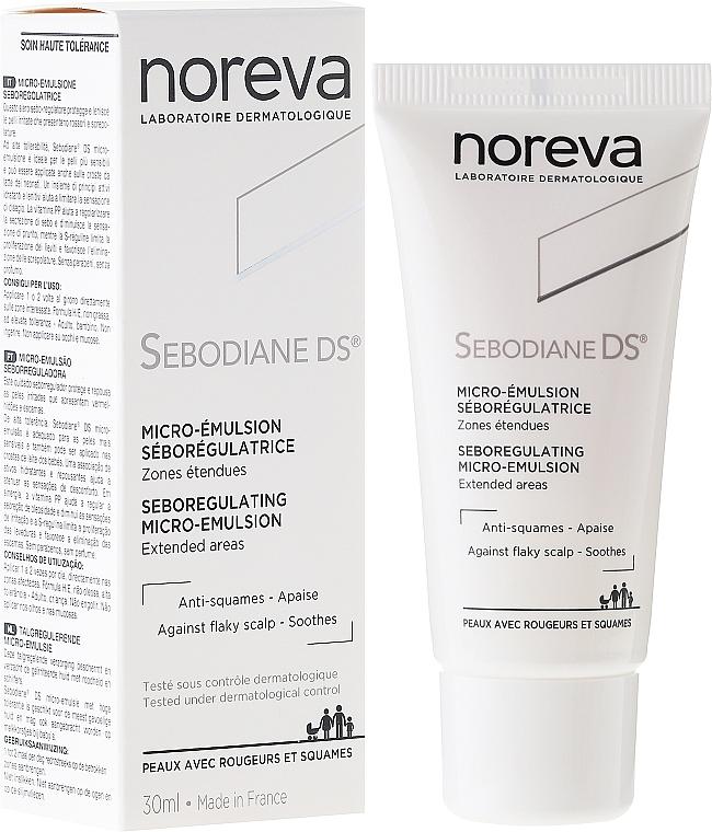 Emulsión reguladora de sebo para cuero cabelludo, pieles sensibles e irritadas con escamas. - Noreva Sebodiane DS Sebum-Regulating Micro-Emulsion0
