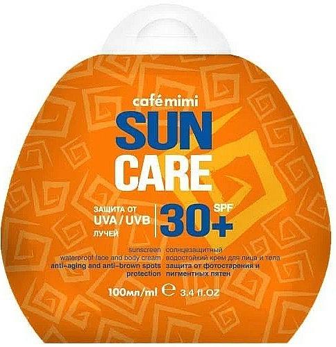 Crema protectora solar para rostro y cuerpo antiedad, SPF30+ resistente al agua - Cafe Mimi Sun Care