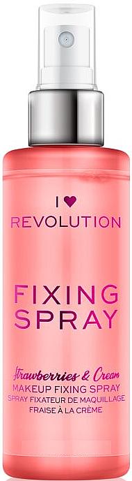 Spray fijador de maquillaje refrescante e hidratante con aroma a fresa - I Heart Revolution Fixing Spray Strawberries & Cream