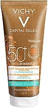 Perfumería y cosmética Leche hipoalergénica en gel de protección solar con agua termal de Vichy, SPF 50+ resistente al agua - Vichy Capital Soleil Solar Eco-Designed Milk SPF 50+