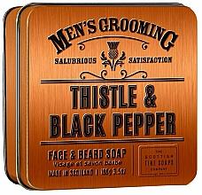Perfumería y cosmética Scottish Fine Soaps Men's Grooming Thistle & Black Pepper - Jabón para rostro y barba con aroma a pimienta negra, ámbar y sándalo