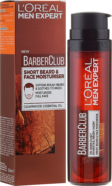 Gel hidratante para rostro y barba corta con aceite de cedro - L'Oreal Paris Men Expert Barber Club Moisturiser