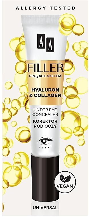 Corrector para contorno de ojos con ácido hialurónico y colágeno - AA Filler Under Eye Concealer