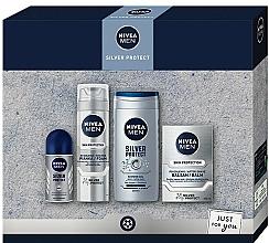 Perfumería y cosmética Set - Nivea Men Silver Protect 2020 (bálsamo aftershave/100ml + espuma de afeitar/200ml + gel de ducha/250ml + deo/50ml)