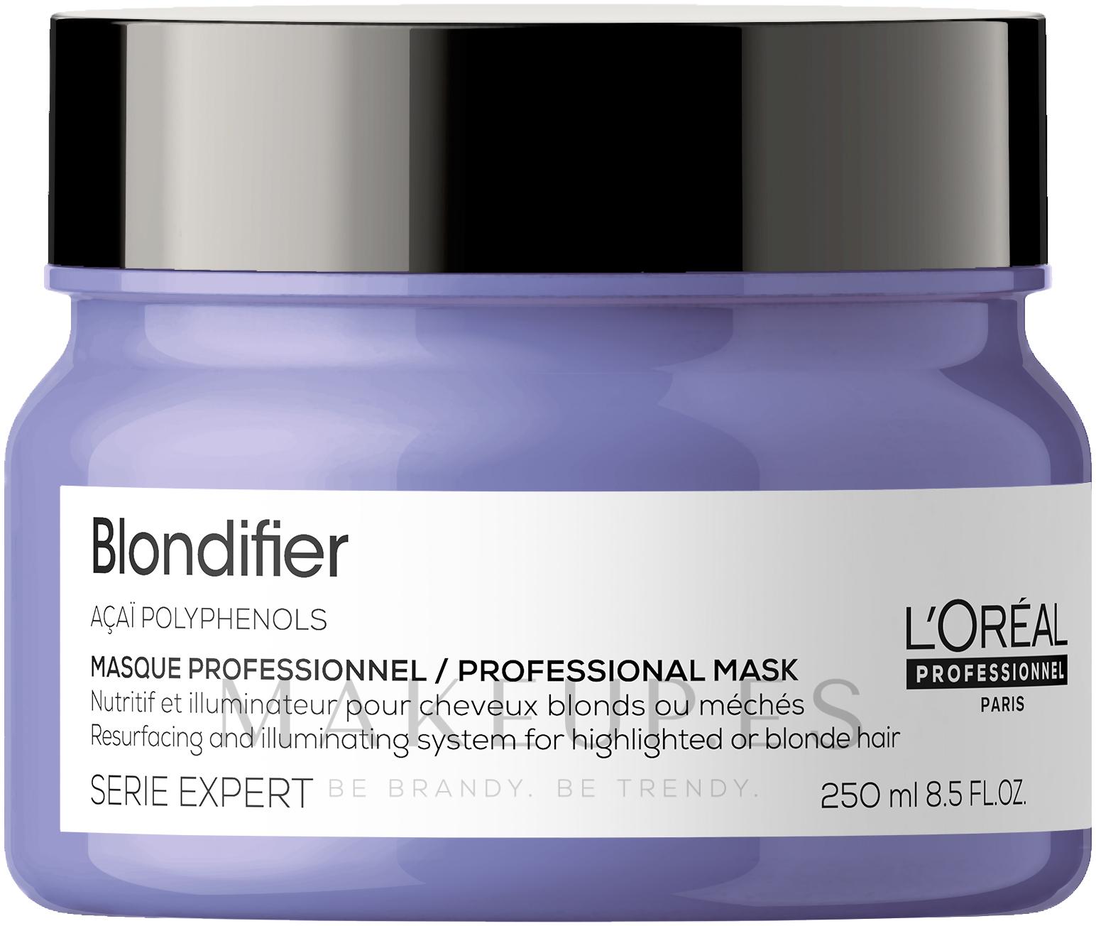 Mascarilla capilar iluminadora con aceite de coco y polifenol de acai - L'Oreal Professionnel Serie Expert Blondifier Masque — imagen 250 ml NEW