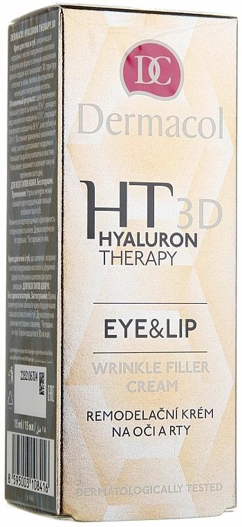 Crema antiarrugas para contorno de ojos y labios con ácido hialurónico y manteca de karité - Dermacol Hyaluron Therapy 3D Eye and Lip Wrinkle Filler Cream