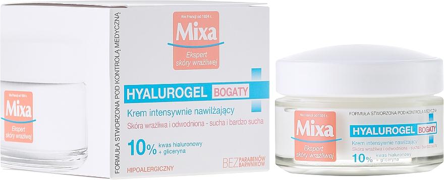 Crema facial con ácido hialurónico, glicerina & manteca de karité - Mixa Hyalurogel Moisturizing Face Cream