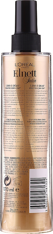 Spray fijador de cabello con protección térmica - L'Oreal Paris Elnett Satin Smooth Spray Protector — imagen N2