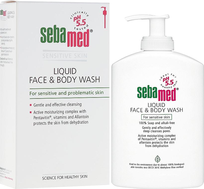 Loción limpiadora con dosificador para rostro y cuerpo con glicerina - Sebamed Liquid Face and Body Wash