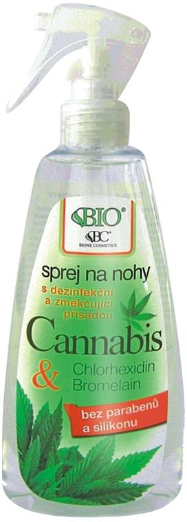 Spray neutralizador de olor para pies con cáñamo - Bione Cosmetics Cannabis Foot Spray With Triethyl Citrate And Bromelain