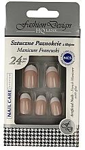 Perfumería y cosmética Uñas postizas con pegamento incluido, manicura francesa 77951 - Top Choice Fashion Design