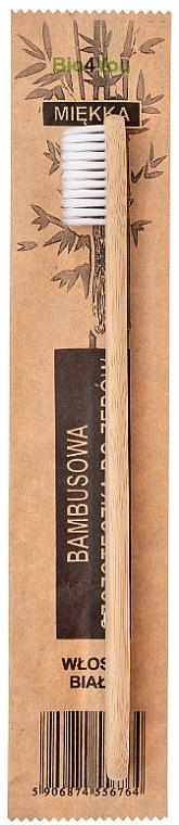 Cepillo dental suave con madera de bambú, blanco - Bio4You