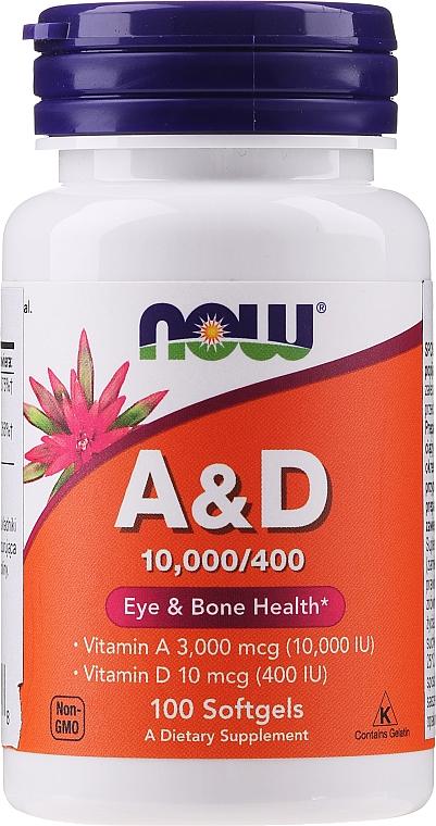 Complemento alimenticio en cápsulas de vitamina A y D - Now Foods A&D Eye & Bone Health