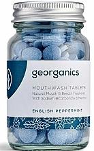 Perfumería y cosmética Tabletas de enjuague bucal con aceite de menta inglesa, 180uds. - Georganics Natural Mouthwash Tablets English Peppermint