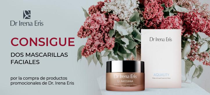 Por la compra de productos promocionales de la marca Dr Irena Eris, recibirás dos mascarillas faciales hidratantes
