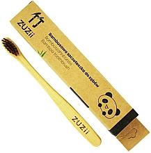 Perfumería y cosmética Cepillo de dientes suave de bambú para niños, marrón - Zuzii Kids Soft Toothbrush