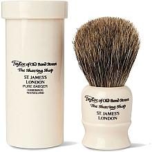 Perfumería y cosmética Brocha de afeitar artesanal con cerdas de tejón, 8,5cm, con estuche de viaje - Taylor of Old Bond Street Shaving Brush Pure Badger