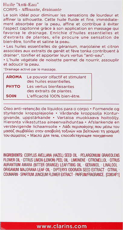 Aceite tratamiento corporal 100% natural con extracto de geranio y mejorana - Clarins Body Treatment Oil Anti-Eau — imagen N3
