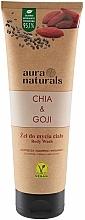 Perfumería y cosmética Gel de ducha reafirmante con aceite de chía y bayas de goji, vegano - Aura Naturals Chia & Goji Body Wash