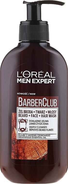 Gel para barba, cabello y rostro con aceite esencial de madera de cedro - L'Oreal Paris Men Expert Barber Club