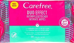 Perfumería y cosmética Toallitas íntimas con aloe y extracto de té verde - Carefree Duo Effect