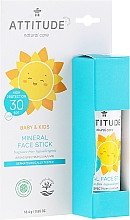 Perfumería y cosmética Stick protector solar facial mineral para bebés y niños, SPF 30 sin fragancias - Attitude Mineral Face Stick SPF 30