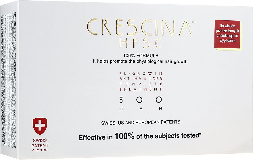 Tratamiento en ampollas estimulador del crecimiento de cabello para hombres 500 - Crescina Re-Growth HFSC 100% + Crescina Anti-Hair Loss HSSC