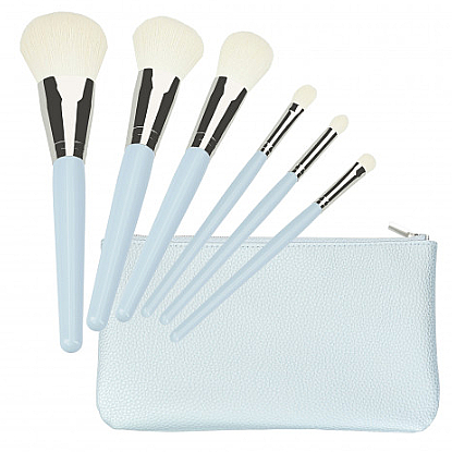 Set brochas y pinceles de maquillaje, 6uds. + neceser, azul - Tools For Beauty Set Of 6 Make-Up Brushes