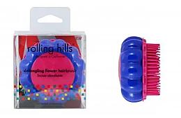 Perfumería y cosmética Cepillo de pelo desenredante compacto, azul con rosa - Rolling Hills Brosse Desenredar Flower
