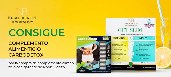 Por la compra de un complemento alimenticio adelgazante de Noble Health, recibirás otro de regalo que apoye el proceso de detoxificación