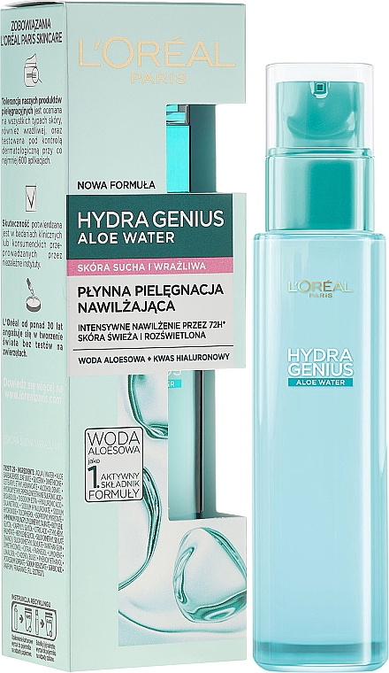 Fluido facial con agua de aloe y ácido hialurónico - L'Oreal Paris Hydra Genius Aloe Water