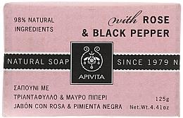 Perfumería y cosmética Jabón con rosa & pimienta negra - Apivita Soap with Rose and Black pepper