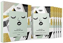 Perfumería y cosmética Set mascarillas faciales de tejido con arcilla purificadora y té verde - Pibu Beauty Green Tea Purifying Clay Mask Set (5uds.x18g)