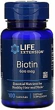 Perfumería y cosmética Complemento alimenticio en cápsulas de biotina, 100 cáp. - Life Extension Biotin, 600 mcg