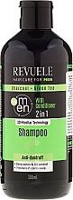 Perfumería y cosmética Champú & acondicionador anticaspa calmante con carbón & té verde - Revuele Men Charcoal + Green Tea 2in1 Shampoo