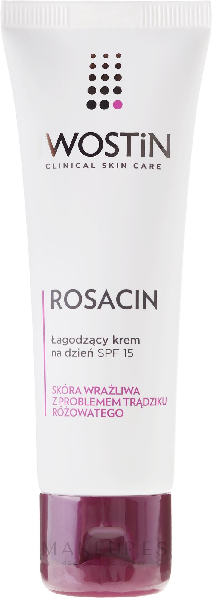 Crema facial calmante para pieles con rasácea - Iwostin Rosacin Soothing Day Cream Against Redness SPF 15 — imagen 40 ml