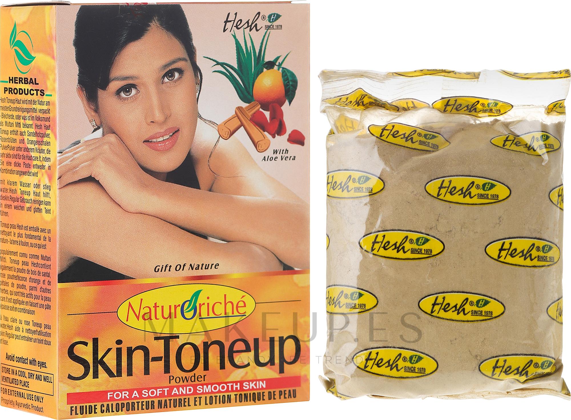 Mascarilla facial natural con aloe vera, polvo de sándalo, pétalos de rosa y cáscara de naranja - Hesh Skin-ToneUp Powder — imagen 100 g