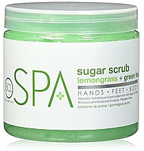 Perfumería y cosmética Exfoliante de azúcar para cuerpo, manos y pies con extracto de té verde y limoncillo - BCL Spa Lemongrass Green Tea Sugar Scrub