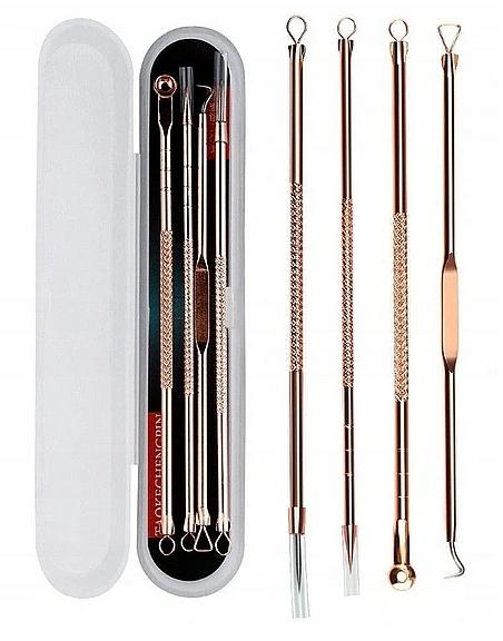 Set de limpieza de espinillas de acero inoxidable, color dorado - Deni Carte