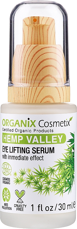 Sérum para contorno de ojos con aceite de semilla de cáñamo y ácido hialurónico, efecto lifting - Organix Cosmetix Hemp Valley Eye Lifting Serum