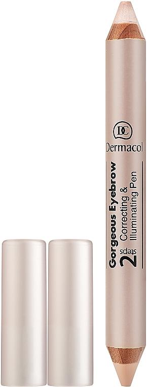 Corrector & iluminador de cejas en lápiz - Dermacol Gorgeous Eyebrow Correcting Illuminating Pen