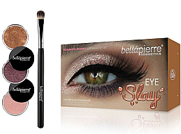 Perfumería y cosmética Kit para sombra de ojos (pigmento/3uds + pincel/1ud) - Bellapierre Eye Slay Kit Romantic Brown