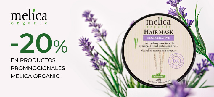 Descuento del 20% en productos promocionales de la marca Melica Organic. Los precios indicados tienen el descuento aplicado